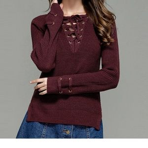 Sweaters - Hi-Lo Lace Up Crew Neck Fall Sweater | Coming Soon